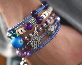 Multi-Strand Beaded Memory Wire Bracelet-Purple Multicolor and Hanging Charm