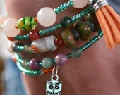 Multi-Strand Beaded Memory Wire Bracelet-Green and Orange Owl Hanging Charm
