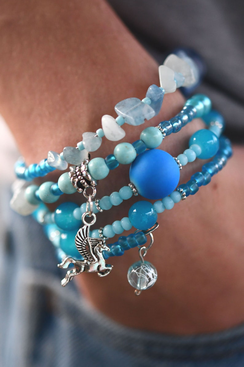 Multi-Strand Beaded Memory Wire Bracelet-Shades of Blue and image 0