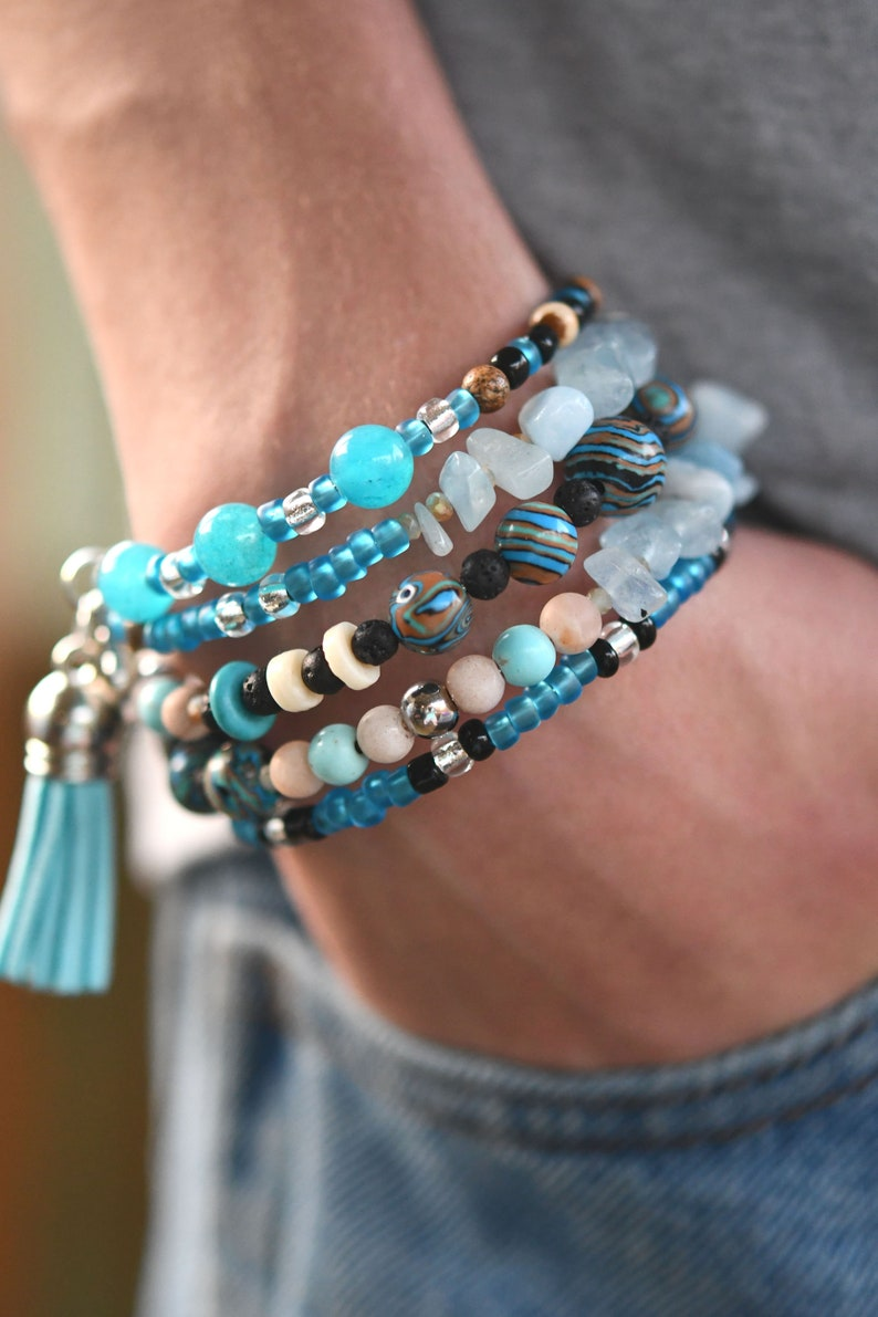 Multi-Strand Beaded Memory Wire Bracelet-Blue and Beige Paw image 0