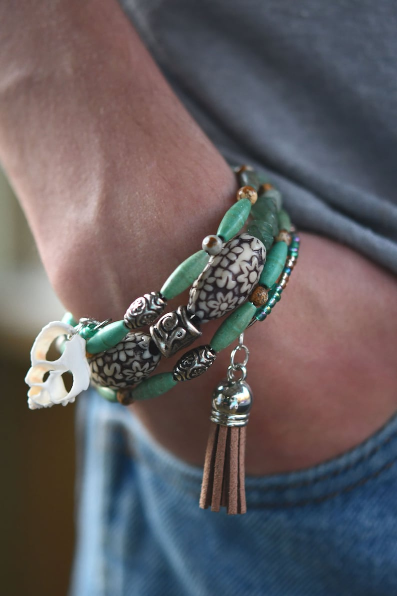 Multi-Strand Beaded Memory Wire Bracelet-Turquoise color image 0