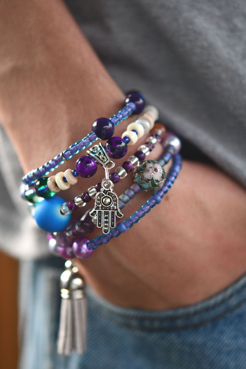 Multi-Strand Beaded Memory Wire Bracelet-Purple Multicolor and image 0
