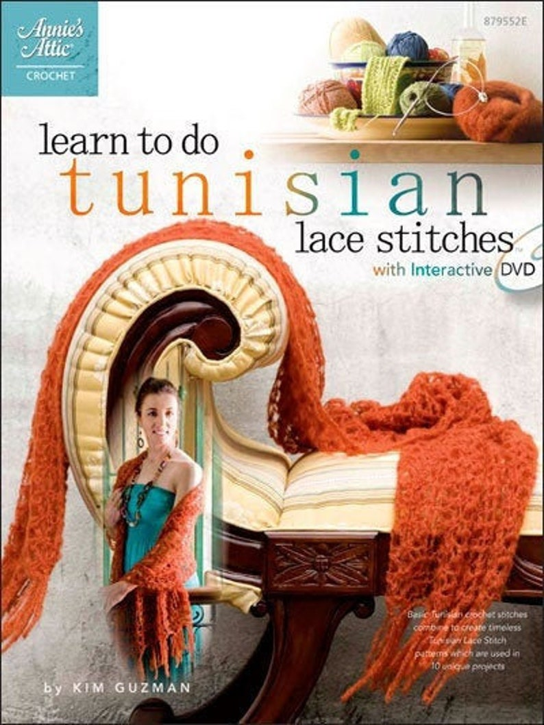 Tunisian Lace Stitches OOP Unused by Kim Guzman image 0