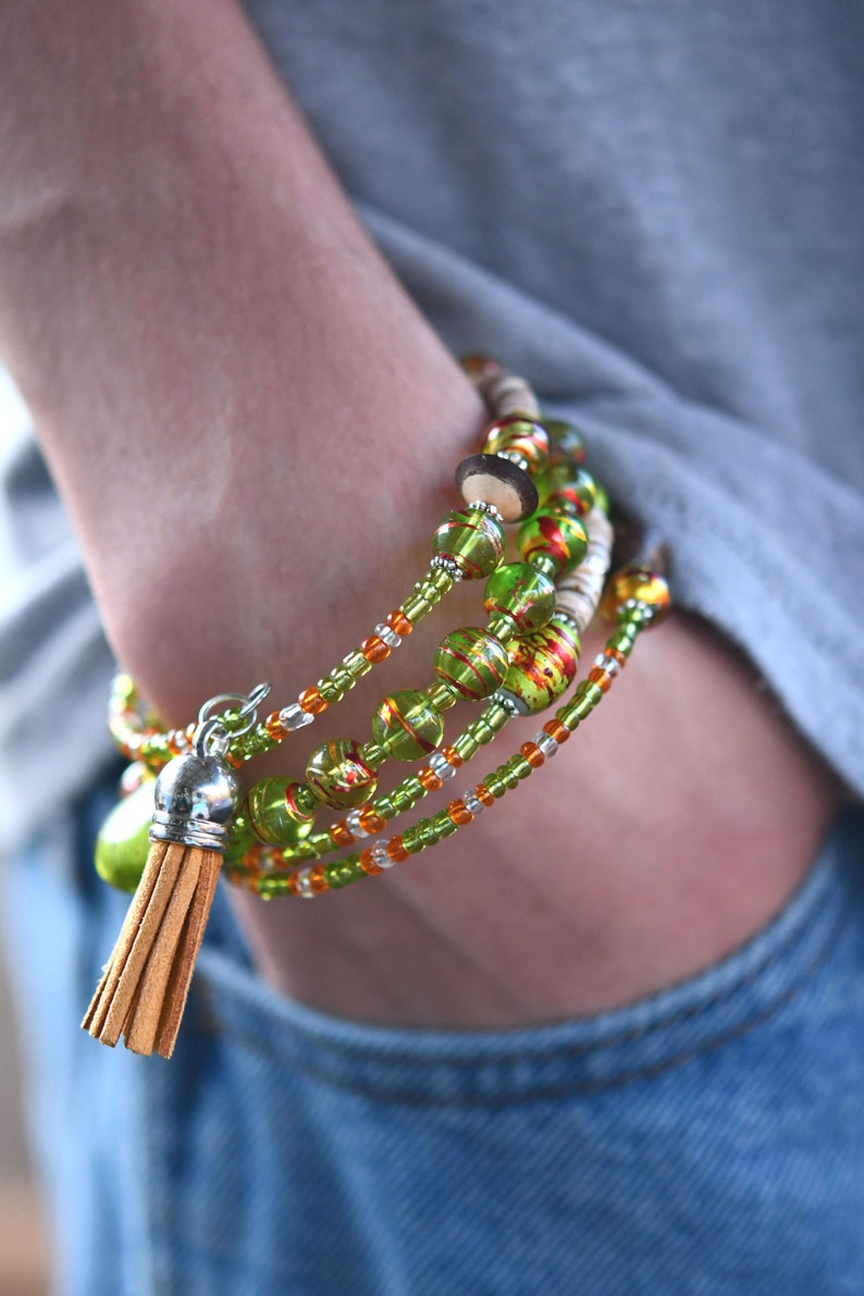 Multi-Strand Beaded Memory Wire Bracelet-Green and Orange image 0
