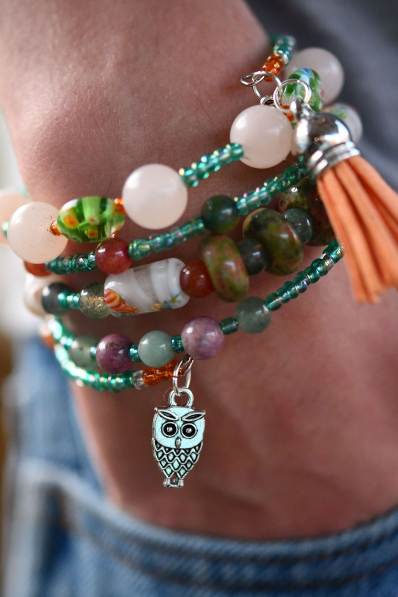 Multi-Strand Beaded Memory Wire Bracelet-Green and Orange Owl image 0