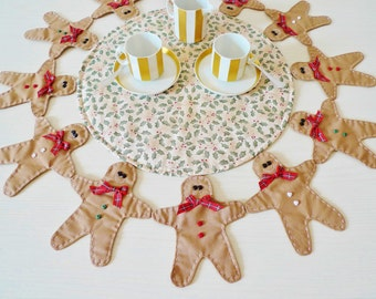 Girotondo quilted centerpiece PDF sewing pattern - Christmas sewing pattern - gingerbread sewing pattern - instant download sewing pattern