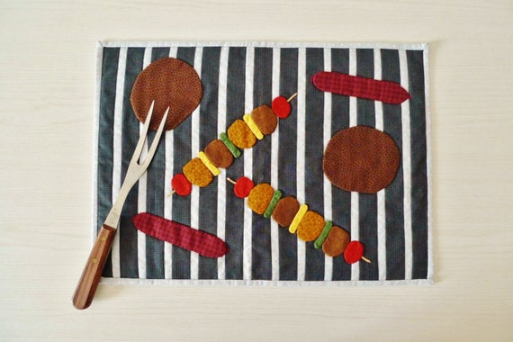 Bbq Placemat Pdf Sewing Pattern Quilted Placemat Pattern Etsy