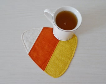Candy Corn mug rug PDF sewing pattern - Halloween coaster pattern - easy sewing pattern - instant download sewing pattern