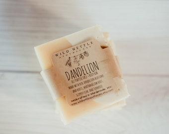 on sale!  DANDELION - face + body - organic - handmade - cold process - seasonal soap