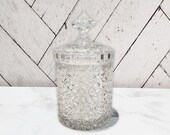 Antique American Brilliant Period Cut Crystal Glass Large Biscuit Barrel Cracker Jar Cigar Daisy and Button Russian Pattern Hawkes Hoare
