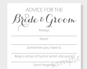 graphic relating to Free Printable Bridal Shower Advice Cards titled Do it yourself information playing cards Etsy