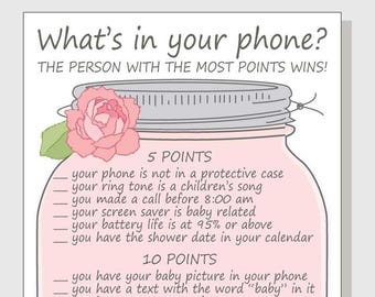 graphic relating to What's in Your Phone Baby Shower Game Free Printable named Whats within just your cellular phone Child Shower Match Printable Do-it-yourself Mobile Etsy