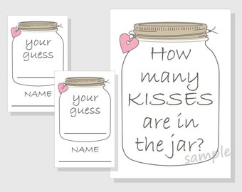 how many kisses are in the jar printable game rustic mason etsy