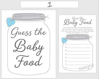 guess the baby food printable baby shower game blue boy mason jar