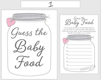 image relating to Guess the Baby Food Game Free Printable titled Bet the Little one Food stuff Printable Kid Shower Match Blue Boy Etsy