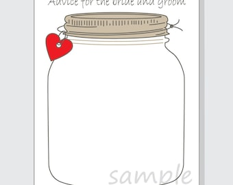 image relating to Printable Mason Jar identified as Mason jar card Etsy