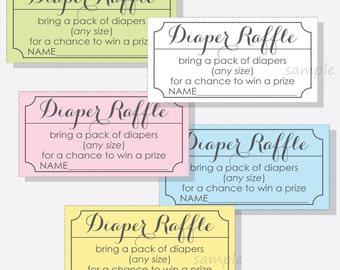 diy diaper raffle ticket stub for a boy girl or gender neutral baby shower printable design script