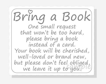 image about Bring a Book Baby Shower Insert Free Printable named Guide inside lieu of card Etsy