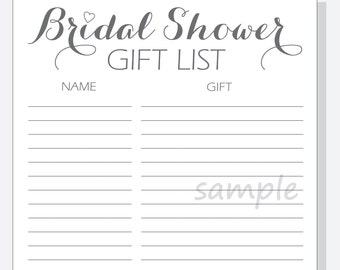 diy bridal shower gift list printable calligraphy script with red purple pink or clear heart