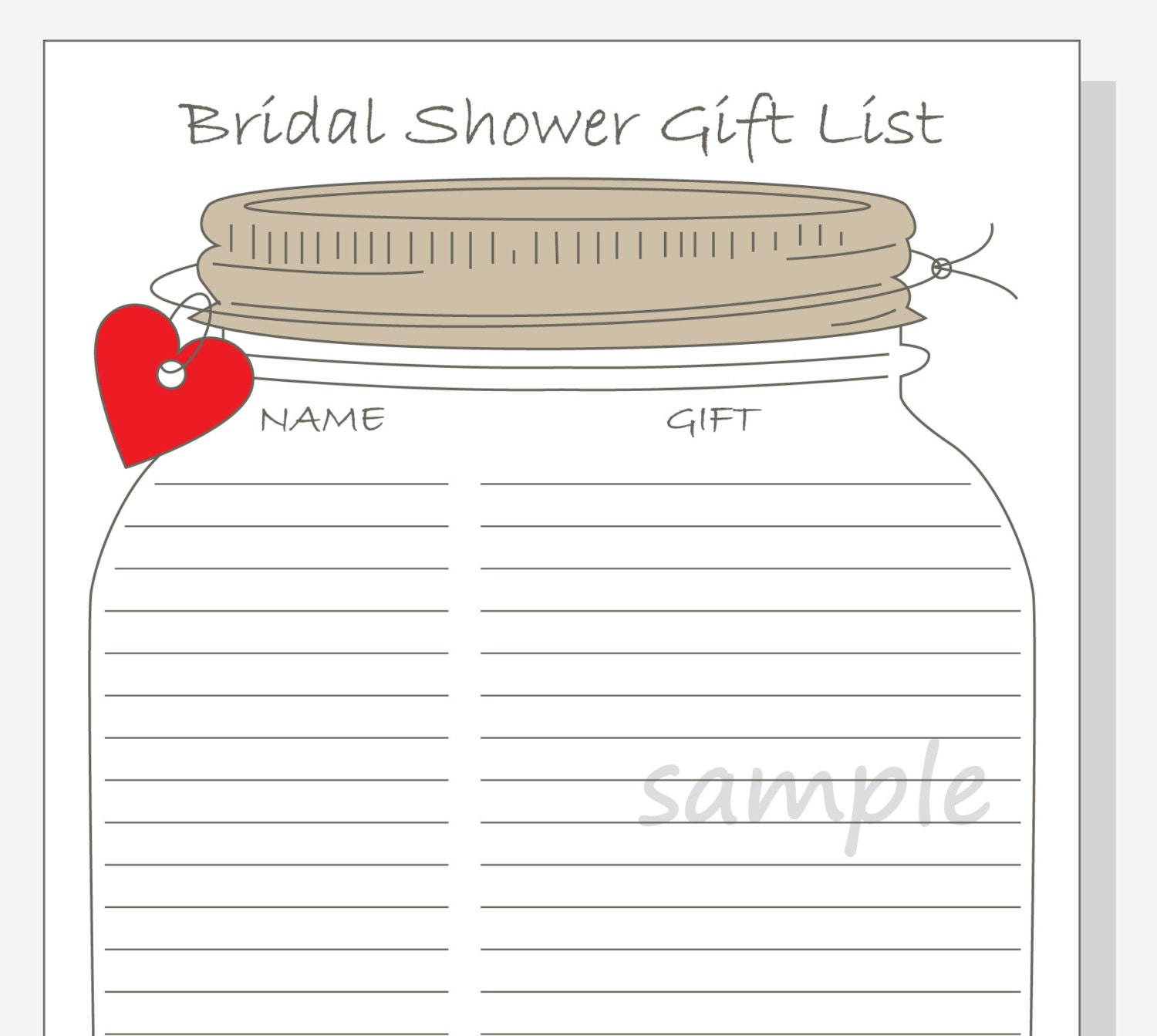 Bridal Shower Gift List Printable DIY Mason Jar Design With