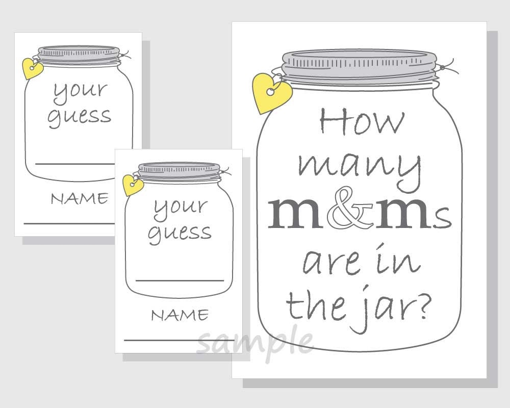 photo regarding Guess How Many in the Jar Printable called How countless MMs are in just the jar? Printable Video game - Sweet - Candies - Mason Jar - Gender Impartial Little one Shower - Bridal Shower - yellow hearts