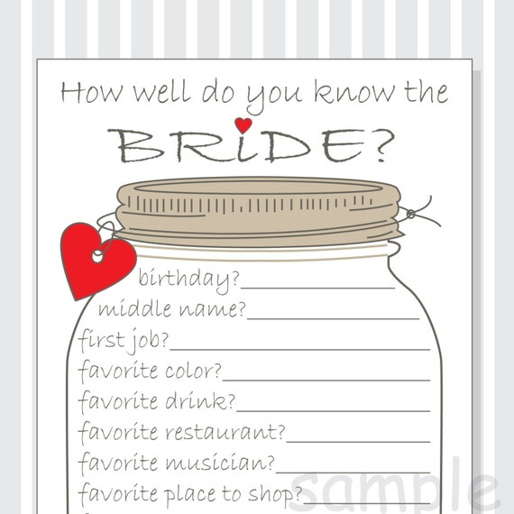 How Well Do You Know The Bride Printable Cards Bridal