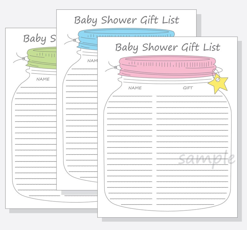picture about Baby Shower Gift List Printable referred to as Kid Shower Visitor Present Checklist Printable Do it yourself - Mason Jar Layout with blue, crimson inexperienced lid for a lady, boy or gender impartial little one shower