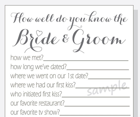 DIY How Well Do You Know The Bride And Groom Printable