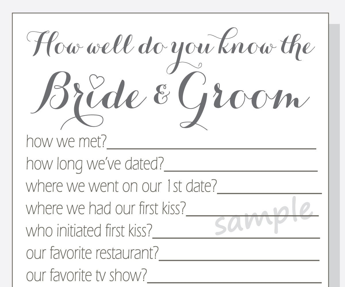 Diy How Well Do You Know The Bride And Groom Printable Cards Etsy