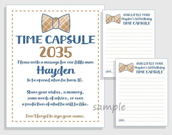 photo regarding Time Capsule Printable identified as Initially Birthday Season Capsule Small Gentleman Printable Signal and Playing cards Do it yourself for Boys - Military Blue and tan / brown Bow Tie - Bowtie - Occasion Sport