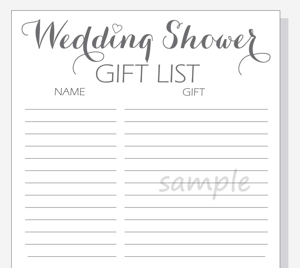 What To Put On A Wedding Gift List: DIY Wedding Shower Gift List Printable Calligraphy Script