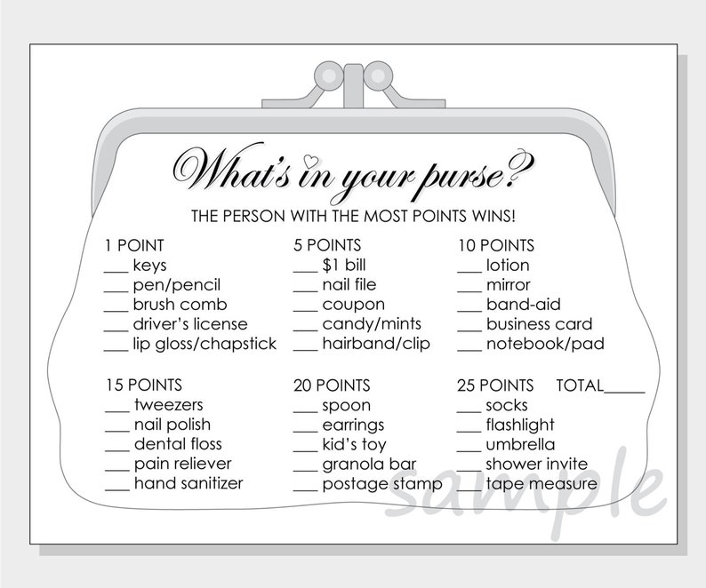 photograph regarding What's in Your Purse Printable named Do-it-yourself Whats within your purse? Printable Bridal Shower Match - white, pink, crimson or crimson hearts