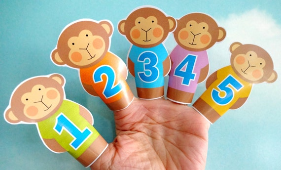 Diy Printable Finger Puppets Five Little Monkeys Jumping On Etsy