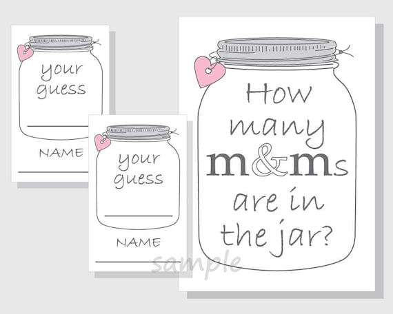 image relating to Mason Jar Printable titled How innumerable MMs are within the jar? Printable Recreation - Sweet - Candies - Mason Jar - Gender Impartial Child Shower - Bridal Shower - red hearts