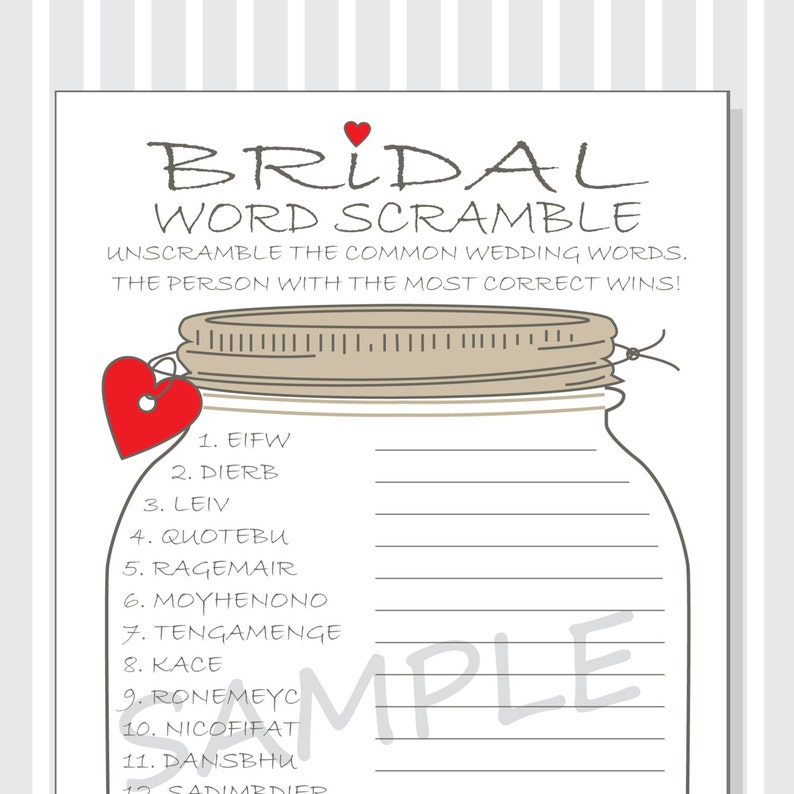 picture relating to Word Scrambles Printable identify Bridal Term Scramble Printable Activity Playing cards - Bridal Shower Do it yourself - Rustic Mason Jar Structure with Solution Major - pink - pink - purple - military services hearts