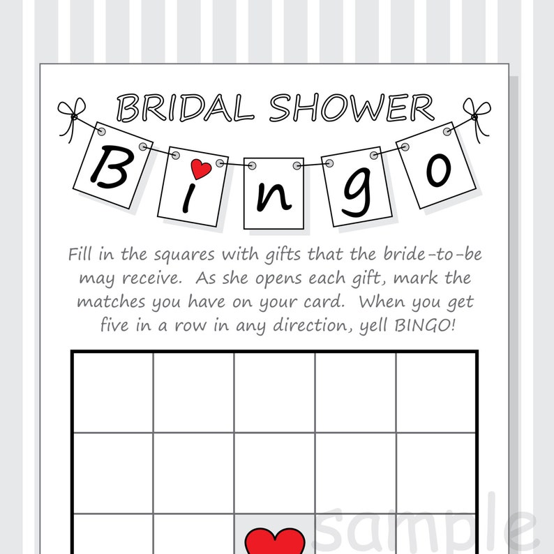 picture regarding Bridal Shower Bingo Printable identify Do it yourself Bridal Shower Bingo Printable Playing cards - Pennant Structure - Crimson Red Hearts