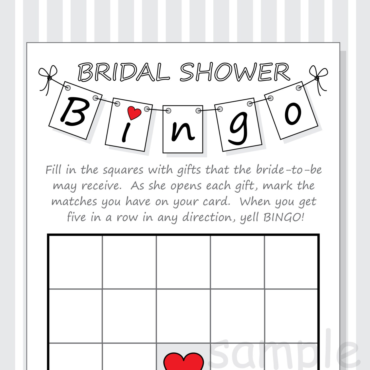 photo relating to Printable Bridal Shower Bingo named Do it yourself Bridal Shower Bingo Printable Playing cards - Pennant Style and design - Crimson Pink Hearts