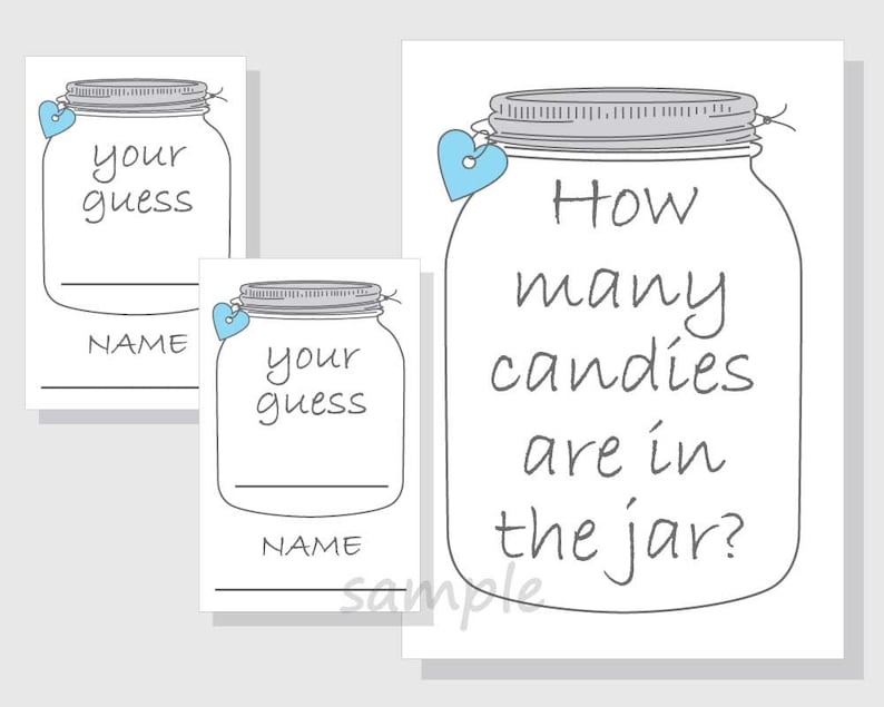 photo about Guess How Many in the Jar Printable titled How numerous candies are inside the jar? Printable Sport - Sweet - Mason Jar - Boy Boy or girl Shower - Bridal Shower - blue hearts