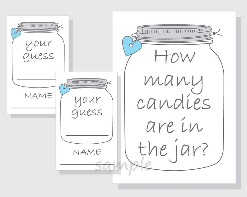 photograph relating to Guess How Many in the Jar Printable called How innumerable candies are within the jar? Printable Activity - Sweet - Mason Jar - Boy Kid Shower - Bridal Shower - blue hearts