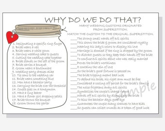 Why do we do that? Printable Cards - Bridal Shower Game DIY - Rustic Mason Jar Design - red, purple, pink & yellow hearts with answer key