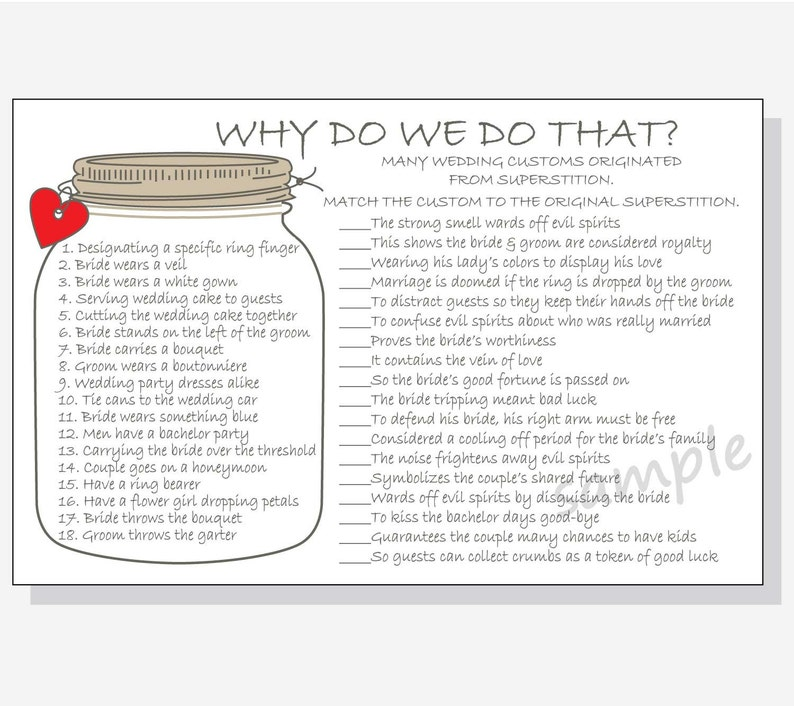 Why Do We Do That Printable Cards Bridal Shower Game DIY