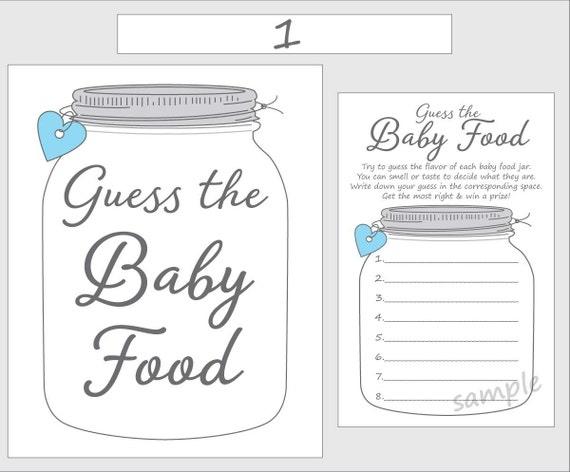graphic regarding Baby Food Game Printable identified as Bet the Kid Foodstuff Printable Little one Shower Video game - Blue Boy - Mason Jar
