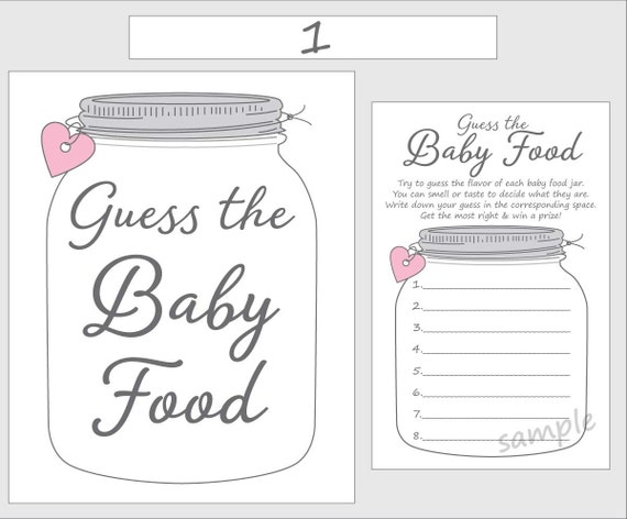 Guess The Baby Food Printable Baby Shower Game Pink Girl Etsy