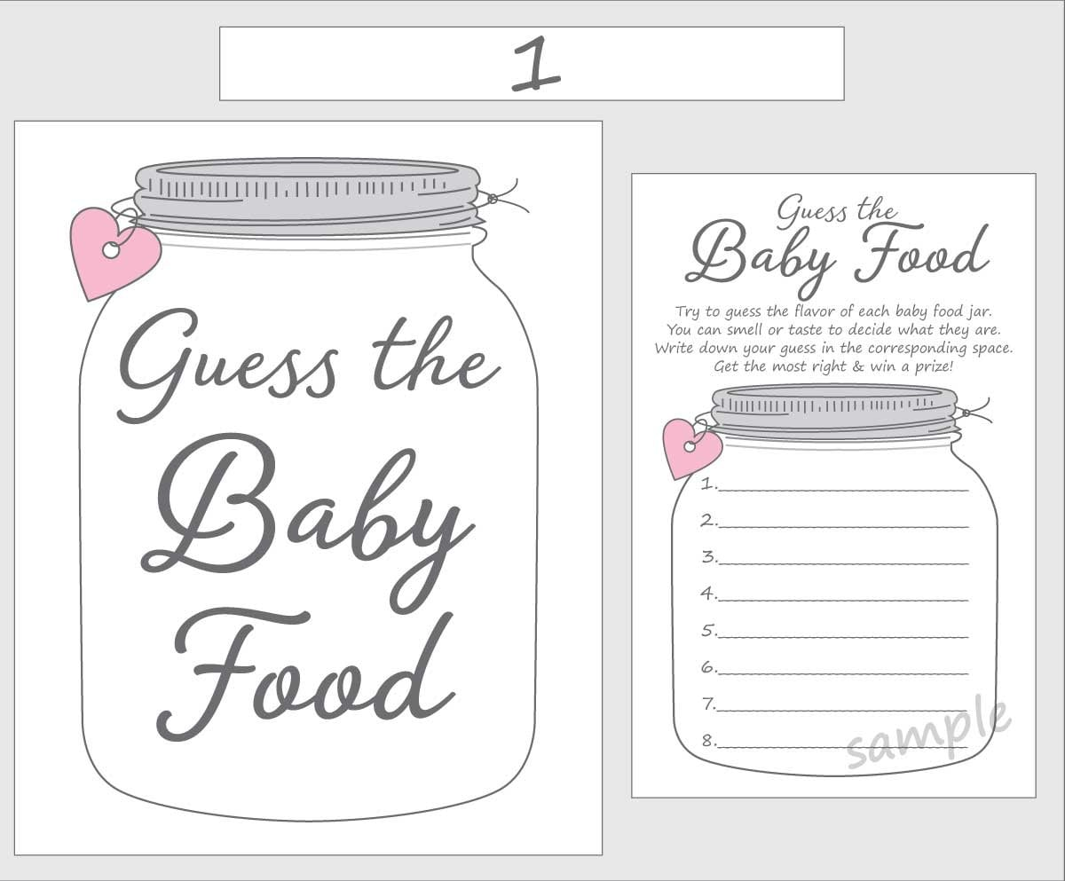 image regarding Guess the Baby Food Game Printable known as Bet the Child Foods Printable Youngster Shower Match - Crimson Female - Mason Jar