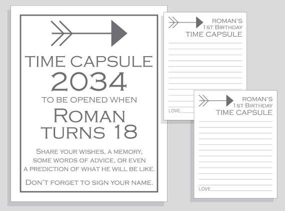 graphic regarding Time Capsule Printable called Initial Birthday Year Capsule Arrow Printable Signal and Playing cards Do-it-yourself for Boys - charcoal and white - Occasion Match