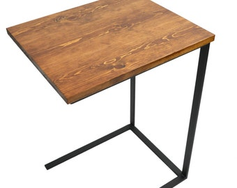 High Quality TV Tray Table   Laptop Desk   C Table   Side Table   Night Stand   Wood And  Metal   English Chestnut Stain