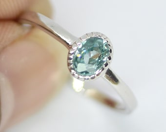 Natural Blue Zircon in 925 Sterling Silver