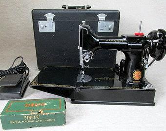 Singer Red S 221k Featherweight Sewing Machine ES651164 Made in Britain 1961