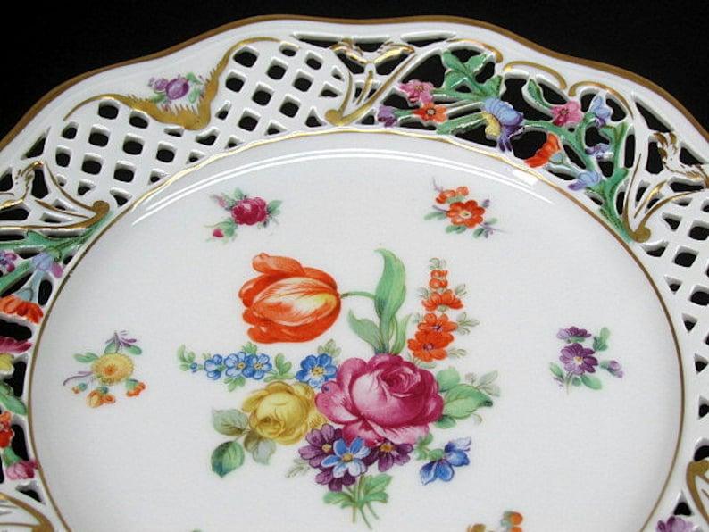 Schumann Bavaria Salad Plate c1940/'s Dresden Floral Decor