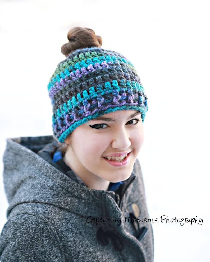 9245ab6e19a Sale Womens or teen messy bun beanie ponytail hat. Messy bun